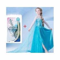 Vestido Fantasia Elsa Frozen Luxo Com Cauda + Acessórios Kit