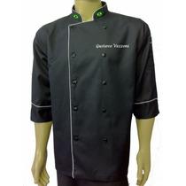Doma Preta De Chef, Com Bordados Gastronomia, Cozinheiro