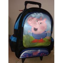 Mochila Infantil Menino Com Rodinhas George Peppa Pig