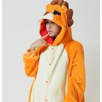 Pijama Adulto Macacão Leão Lion Rei Da Floresta Com Capuz
