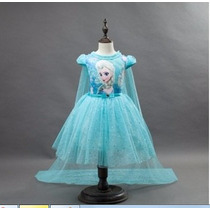 Vestido Festa Fantasia Infantil Princesa Ana Elsa Frozen