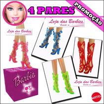 Lote Com 4 Pares De Sandália Gladiadora P/ Barbie * Sapatos