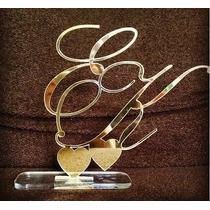 Topo Bolo Casamento Personal Monograma Iniciais Dourado