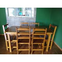 Mesa Madeira Seis Cadeiras.