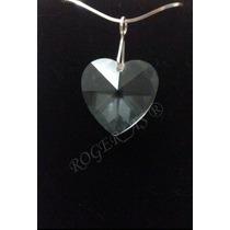 Colar Cristal Swarovski Coração 2,0 Cm Em Prata 925