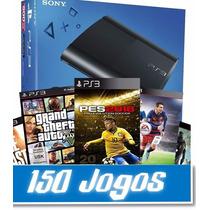 Playstation 3 Ps3 500gb C/ 150 Jogos Originais E 1 Controle