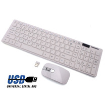 Teclado + Mouse Wireless Sem Fio 2.4ghz Desk Top Pc Branco