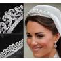 Coroa Tiara Noiva Princesa Kate Prata Com Pedras Strass