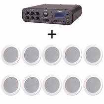 Kit Som Ambiente Amplificador Sa20 + 10 Arandelas Dr400 25w