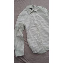 Camisa Importada Masculina Fit Verde Branca Stretch M