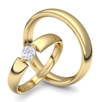 Par De Aliança Almas Gêmeas Em Ouro K 18 E Diamantes