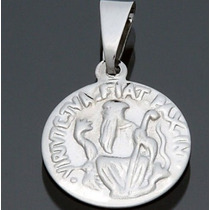 Frete Grátis - Pingente Medalha Aço Inox Prata Sao Bento