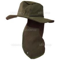 Chapéu Verde C/ Protetor De Nuca P/ Pescador, Mateiro, Etc