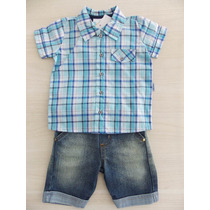 Conjunto Bebê Camisa Xadrez Bordada E Bermuda Jeans - Luxo