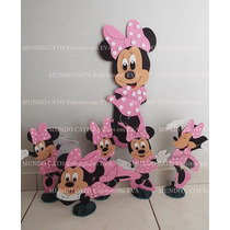 Kit Decoração/festa/enfeites Mickey/minnie Rosa