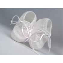 A89 Sapatinho De Croche Masculino Branco Menino Orna Enxoval
