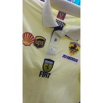 Camisa Polo Ferrari Amarela Gola Dupla - Pronta Entrega
