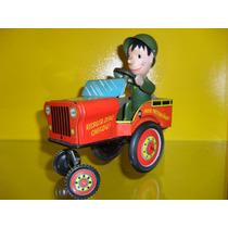 Brinquedo Antigo,jeep Recruta Zero A Corda Da Estrela
