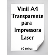 Vinil Adesivo Transparente A4 Para Impressora Laser