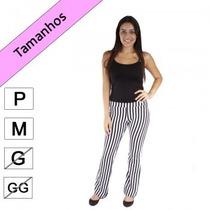 Calça Pantalona Listrada - Preto E Branco