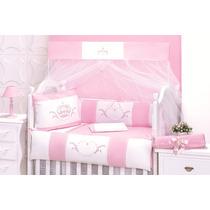 Kit Berço Americano Rosa Coroa De Rainha Bordado Algodão