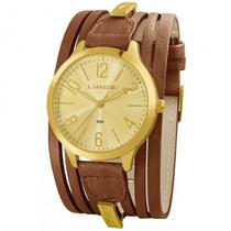 Relógio Lince Lrc4231l C2mk Feminino Dourado Couro- Refinado