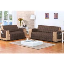 Kit 2 Protetores Sofa:2 E 3 Lugares Matelasse Tabaco -rosdry