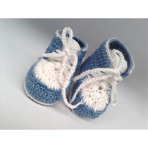 A15 Sapatinho De Croche Azul Branco Masculino Tenis Menino