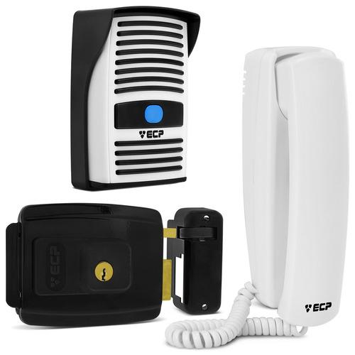 Interfone Residencial + Fechadura Elétrica Residencial Preta