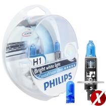 Kit Lampadas Philips H1 Crystal Vision Ultra 4300k + Pingos