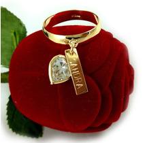 Anel Pingente Coração Em Ouro 18k-750