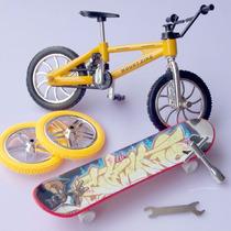 Mini Bicicleta De Dedo + Mini Skate - Com Kit Reparo