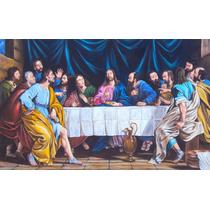 Quadro Santa Ceia 120x80cm Pintura Sacra Óleo Sobre Tela