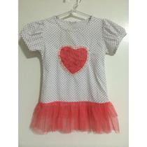 Vestido Infantil Branco Coração Rosa Bolinhas Tule Renda