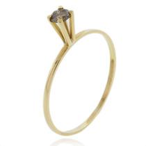 Anel Em Ouro 18k Com Diamante Solitário Chocolate 10 Pontos