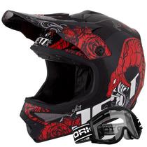 Capacete Moto Cross Pro Tork Jett Veneno Trilha + Óculos 788