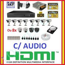 Kit 8 Cameras Ccd Sony Completo Dvr 16 Canais D1 Hd 1tb Cabo