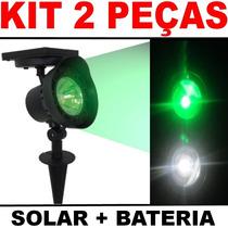 Luminária Solar Jardim Spot Refletor Luz Verde Kit 2 Peças