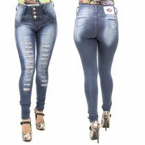 Calça Jeans Feminina Planeta Escura Rasgada Levanta Bumbum