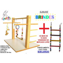 Kit Básico Calopsita Feliz Playground Natural + Brinquedo