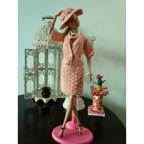 Vestido, Casaco, Chapéu, Sapatos Bolsa De Crochê Para Barbie
