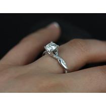 Anel Solitário Em Ouro Branco18k Mais 40 Pontos Em Diamantes