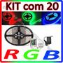 Kit Com 20 Fita Led 5m Rgb Auto Adesiva + Controle + Fonte