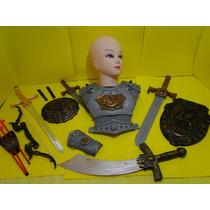 Armadura Medieval Peitoral Bracelete Espada 02 Escudos Festa