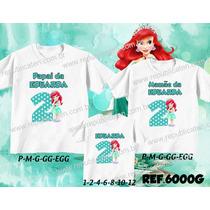 0c48a60dd Camisetas Personalizadas Aniversário Ariel Pequena Sereia à venda em ...