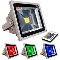 Refletor Holofote Led Rgb 10w Bivolt Controle 16 Cores Ip65