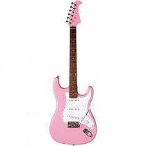 Guitarra Eagle Sts-001 Sr Stratocaster Rosa - Refinado