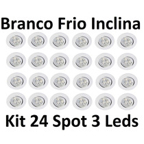 Kit 24 Luminárias Embutir Spot 3 Led Inclinável Branco Frio