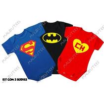Body Camiseta Batman Chapolin Super Man Bebê Personagem
