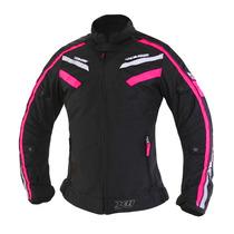 Jaqueta X11 Moto Iron Impermeavel Feminina Nylon Preta/rosa